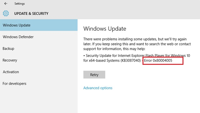 Update Error 0x80004005 in Windows 10