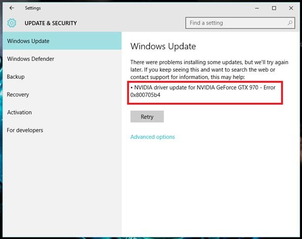 Update Error 0x800705b4 in Windows 10