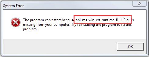 api-ms-win-crt-runtime-l1-1-0.dll Missing Error