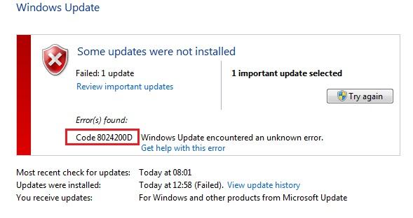 Windows 10 Update Failing with Error 0x8024200D